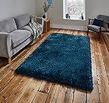 Think Rugs handgetufteter, schwerer Hochflor-Teppich »Montana«, stahlblau, 80 x 150 Cm