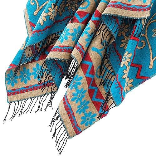 Damen Poncho Cape Schal Pullover Strickjacken Blumenmuster mit Fransen Blau