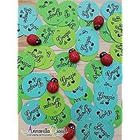Cartellini verdi tondi per bomboniera, grazie, 50 pezzi, etichette, nascita, battesimo, bimba, cresima, comunione, tag, bigliettino, bomboniere, compleanno, confettata, grazie di cuore , mix color