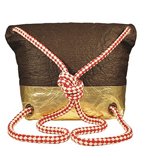 Pinetta vegan handbag/backpack in foglia di ananas Brown/Gold