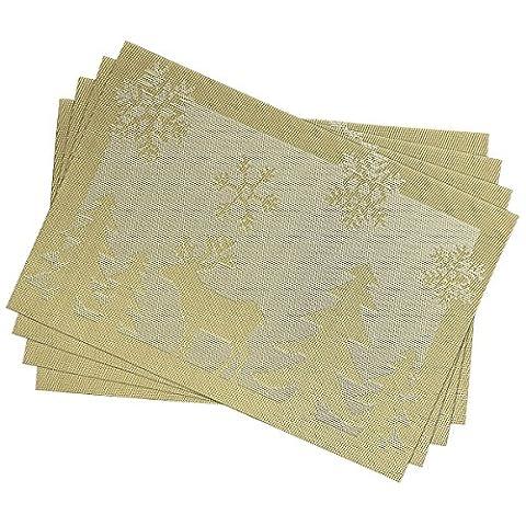 DELEY Sets de Table Noël Décoration de Table Festival Partie Banquet Christmas PVC Placemats Napperons Lot de 4 Or