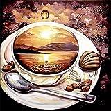 5D-Mosaik-Gemälde, Kreuzstich, mit Kunstharz-Diamanten, Stickset, Set zum Selbermachen, coffee, 30x30cm