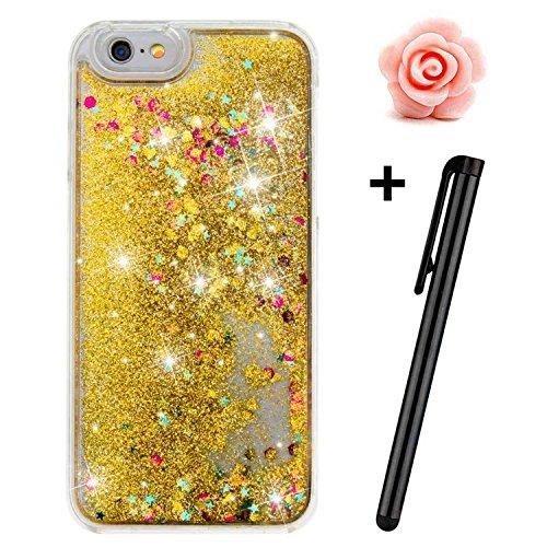 iPhone SE Custodia Glitter, toyym trasparente galleggiante brillantini glitter per iPhone 5S SE, 3d creative Funny Cute Moving Cuori Star Design Cover rigida protettiva per Apple Iphone SE/5S/5 Gold
