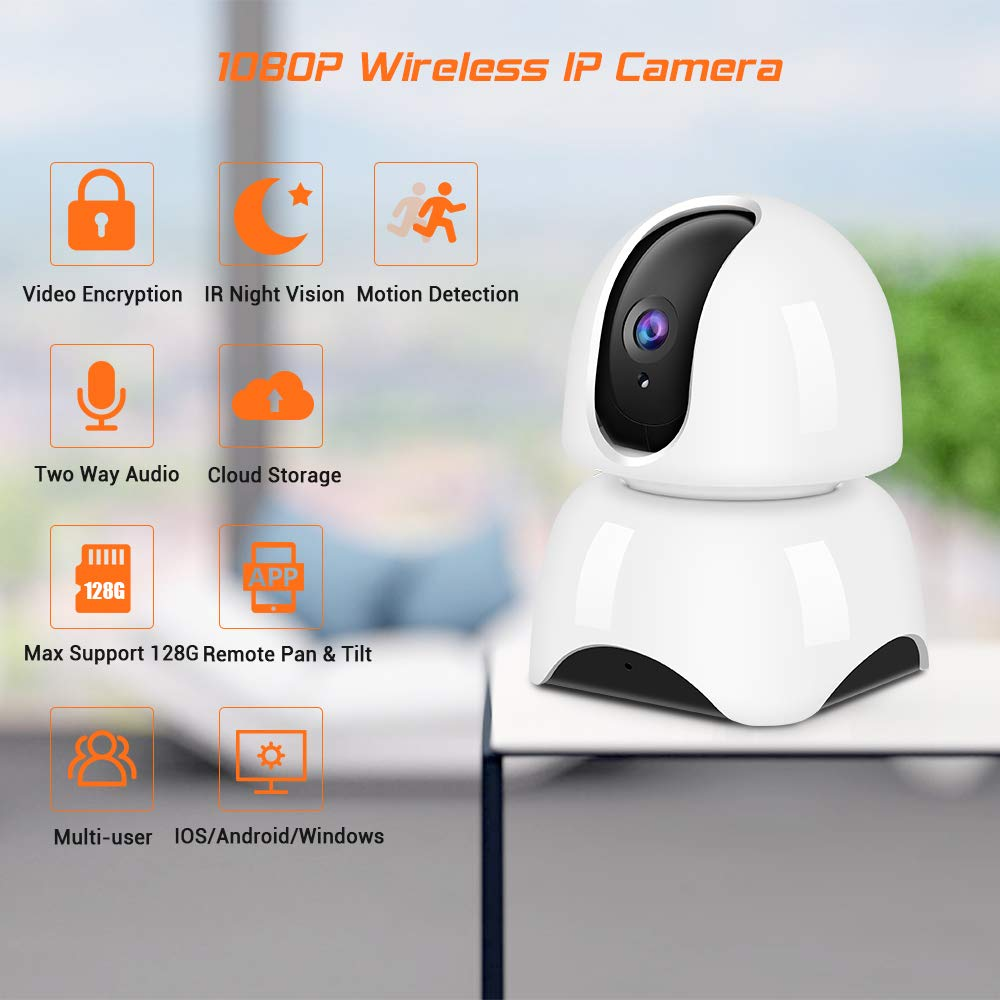 IP Camera Wireless 1080P,WiFi Baby Monitor Indoor Camera with Night Vision  Motion Detection Two-Way Audio Home Security Surveillance for