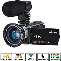 "Caméscope 4K,CofunKool Caméra Vidéo Ultra HD 1080P 48.0MP Caméscope WiFi avec Vision Nocturne IR 3""écran IPS Caméra Vidéo avec Micro Externe et Objectif Grand Angle"