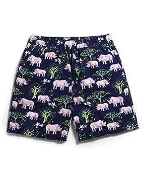HAIYOUVK Beach Pants Men'S Large Size Quick-Drying Loose Seaside Vacation Swimming Surf Shorts Rhino Figure Print...