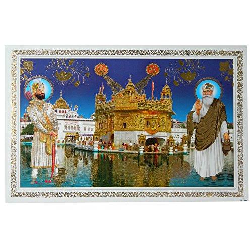 Bild Guru Nanak & Guru Gobind Singh am goldenen Tempel Harmandir Sahib 48 x 33 cm Kunstdruck Plakat Poster Indien Sikhismus Hochglanz Dekoration