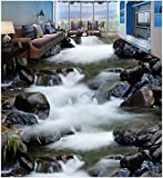 LHDLily 3D-Flüsse Wohnzimmer Badezimmer Bodenfliesen Pvc Wasserdicht Stock Custom Photo Selbstklebend 3D-Stock  150cmX100cm