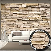 Poster fotografico Parete di Pietra Decorazione pietra in 3d per la parete – poster per decorare la parete Muro di pietra Ardesia Pietra arenaria Stonewall I Fotomurales by GREAT ART (336 x 238 cm)