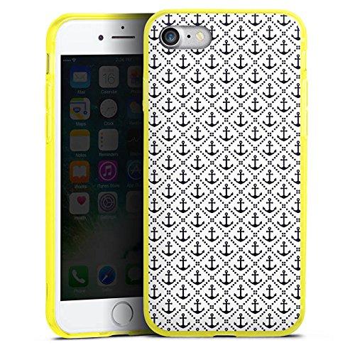 Apple iPhone 8 Silikon Hülle Case Schutzhülle Anker Anchor Muster Silikon Colour Case gelb
