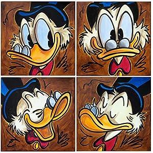 Original Gemälde Acrylfarben auf Leinwand und Keilrahmen: Dagobert Duck Faces I / 4 Bilder à 30x30 cm