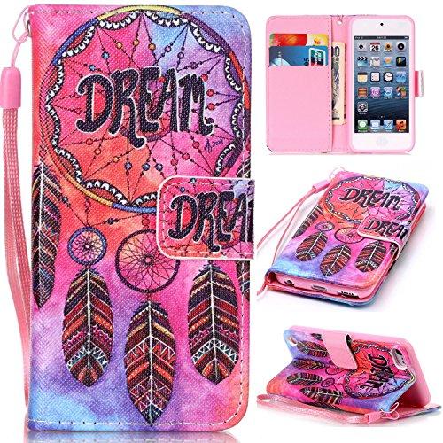 iPod Touch 6Fällen, iPod Touch 5Wallet Fall, beimu [Karte Slots] [Wristlet Gurt] [Geld Pocket] PU Leder Flip Schutzhülle mit ID & Kreditkarte Halter für iPod Touch 6./5. Generation, Dream