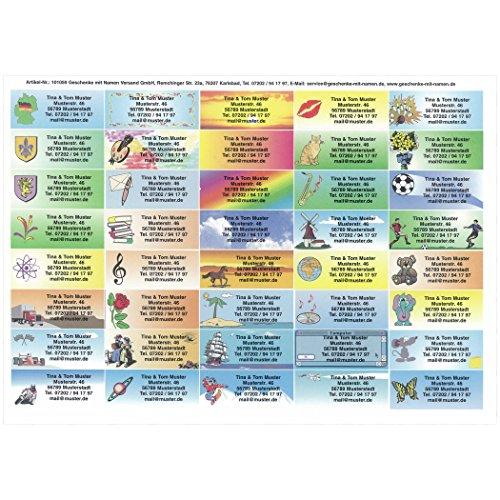 Motivetiketten bunt-gemischt mit Ihrem Wunschtext, 40 Stück, ca. 55 x 23 mm, für bis zu 5 Zeilen Text
