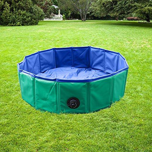 YAOBLUESEA Hundepool Doggy Pool Faltbarer Hunde Planschbecken Badewanne Pool in PVC Φ 160 x 30 cm Grün