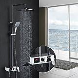 Homelody Duschset mit LCD Display Duscharmatur Aufputz Duschsystem Duschkopf Handbrause und Armatur für Badewanne