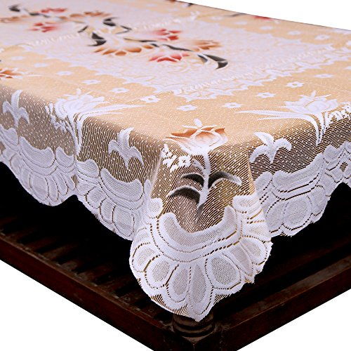 Kuber Industries™ Center Table Cream Floral Design in Cloth 40*60 Inches - KI3556