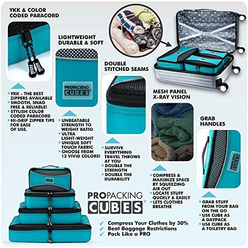 PRO Packing Cubes | Packwürfel im 4-teiligen Sparset | Taschen mit 30 % Platzeinsparung | Ultraleichte Gepäckverstauer | Ideal für Seesäcke, Handgepäck und Rucksäcke (Schwarz) Blue
