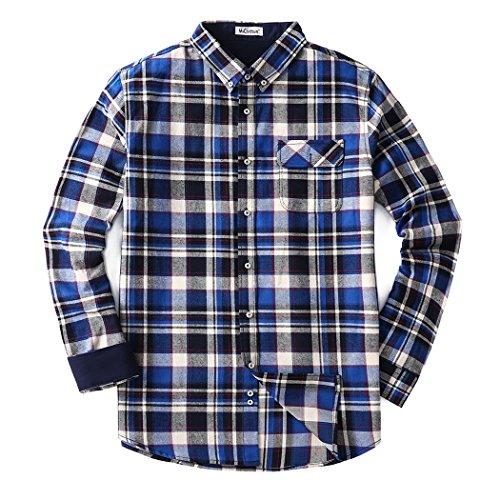 Mocotono Herren Langarm Kariertes Hemd Baumwolle Flanell Hemd mit Super Qualität Dunkelblau XXL (Kariertes Flanell-hemd Blau)