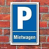 Schild Parken, Parkplatz, Mietwagen, 3 mm Alu-Verbund 600 x 400 mm