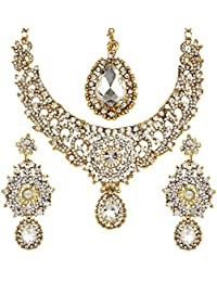 Jewels Gold Elegant Diamond Gold Plated Classic Necklace Set For Women & Girls