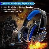 Beexcellent GM-3, Cuffie Gaming Super Confortevole con Microfono e Stereo Bass, 3.5mm, Blu