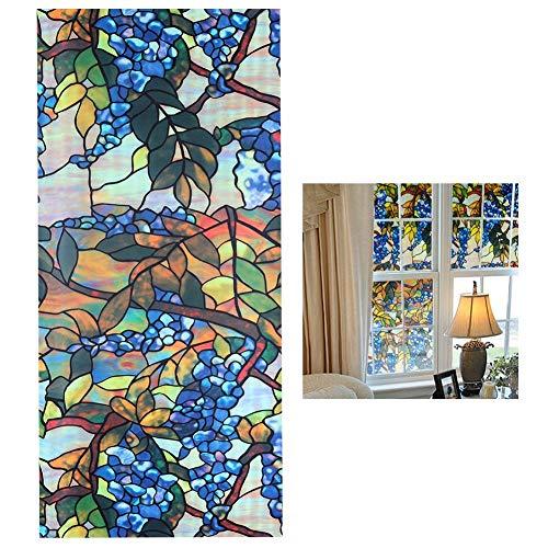 Ericcay senza colla finestra pellicola autoadesiva adesivo elegante unico statico con vetro adesivo per vetri tendine oscuranti privacy decorazione colorata 6 stili (17 7 x 39 4 pollici) foglie colora