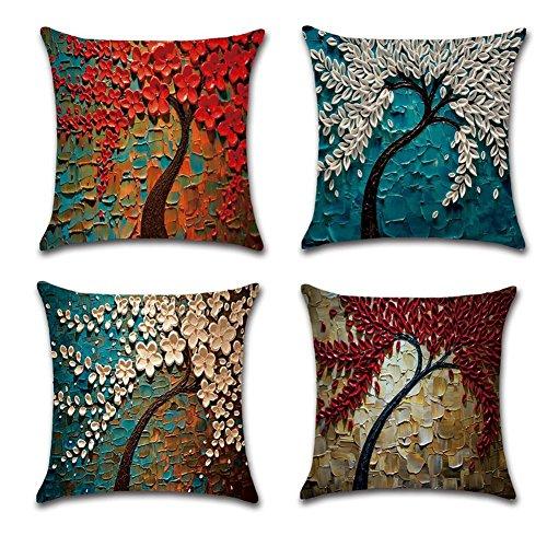 SOUTHYU Baumwolle Leinen Kissenbezüge dekorative Kissenhülle Zierkissenbezüge Dekorationskissen für Couch Sofa Stuhl Schlafzimmer Büro Terrasse Garten Home Decor (45 × 45 cm, 4er Set) (Flower)