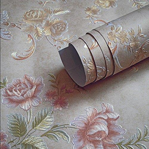 Jedfild Kontinental geprägtes Vlies Tapete selbstklebende Schlafzimmer Wohnzimmer Wand stereoskopischen 3D-Wand warm im Vergleich Tapete