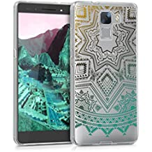 kwmobile Funda para Huawei Honor 7 / Honor 7 Premium - Case para móvil en TPU silicona - Cover trasero Diseño sol azteca en amarillo turquesa transparente