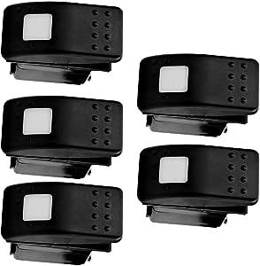 E Support Trade 5 X Kfz Auto Offroad Kippschalter Druckschalter Schalter Drucktaster Wippschalter Wasserdicht 12v 20a Weiß Led Licht 3pin Auto