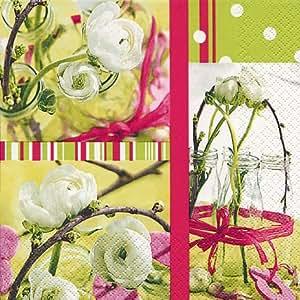 Lot de 20 serviettes en papier motif fresh spring frais au printemps/fleurs/design printanier. 33 x 33 cm