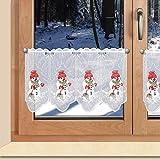 SeGaTeX home fashion Weihnachts-Scheibengardine Kleiner Schneemann mit Besen Wintergardine Plauener Stickerei