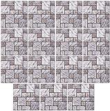 infactory Fliesenmosaik-Sticker: Selbstklebende 3D-Steinwandoptik-Fliesenaufkleber, 30 x 30cm, 15er-Set (Wandverkleidungs-Aufkleber)
