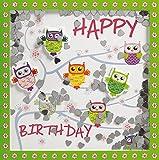 Glückwunschkarte SHAKE-Card Geburtstagskarte mit Eulen 15,5x15,5 cm 55-2030