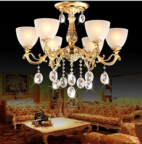 Cristal 6 Licht (Gowe Luxus Kronleuchter Moderne Kristall Kronleuchter Zink Legierung Wohnzimmer LED Kronleuchter Lampe 68Lichter Cristal lustres de plafonner)