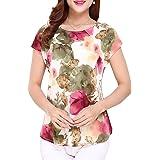 Damen Casual Tunika Kurzarm Langarm T-Shirt Falten Tops Shirt mit Stretch Ausschnitt
