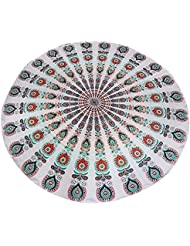 Toalla De Playa Hippy Decoración De Pared Tiro Estera De Yoga Colcha Tapicería De Algodón Redonda - Blanco, 180 Colores