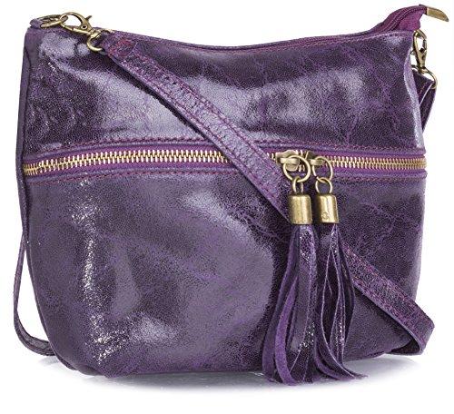 Big Handbag Shop donna vera pelle tasca frontale lunga Tassel Estrattore Borsa Deep Purple