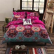 Juego de ropa de cama de 4 piezas, estilo bohemio, incluye una funda de edredón, una sábana + dos fundas de almohada, 150 x 200 cm, 200 x 230 cm, 220 x 240 cm, poliéster, Diseño 10, 220 x 240 cm