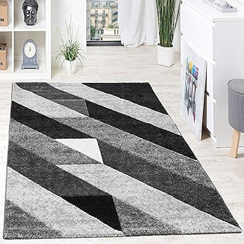 Alfombra De Diseño De Calidad Franjas Diagonal Triángulos 3D Negro Gris Blanco, Grösse:160x230 cm