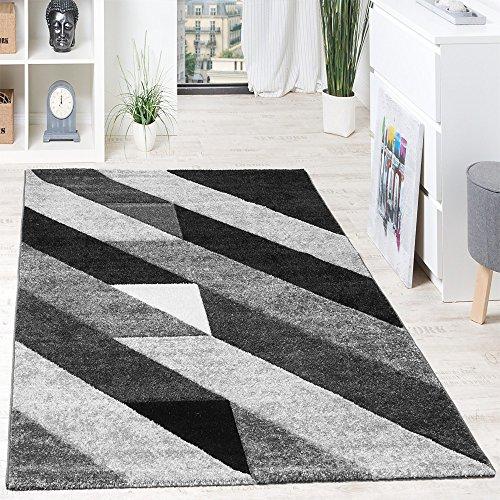 Alfombra De Diseño De Calidad Franjas Diagonal Triángulos 3D Negro Gris Blanco, Grösse:120x170 cm