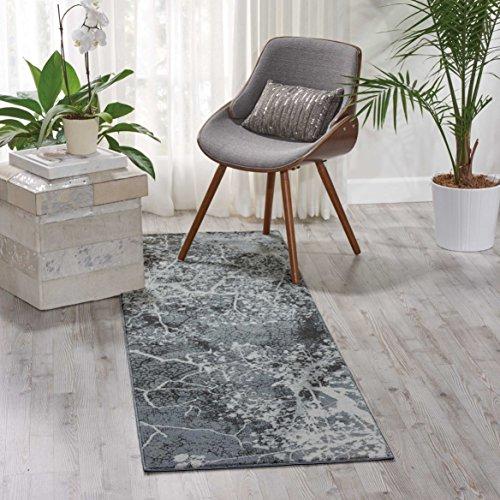 Nourison Teppich Mondrian 99446362308-Grau Power bevorstand Teppich, grau, 2ft 2Zoll x 7ft 6 - Nourison Nourison Teppich Grau