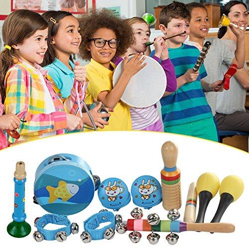 Musikinstrumente Kinder Set 10PCS Orff Kinder -Tamburin * 1 Maraca*2 Kastagnetten*2 Handgelenkglocke*1 Einzelner Guiro*1 Stock * 1 Vertikale Glocke*1 Trompete *1-mit zufälliger Farbe und Muster