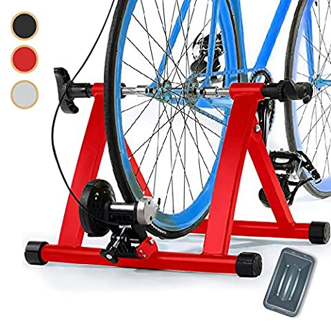 Magnetic 8 Levels Turbo Trainer Varied Speed Cycling Bike w Front Wheel Block, 3 Colors Optional, Healthline