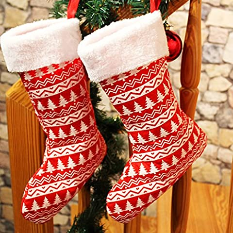 2 x Nikolausstrumpf / Weihnachtsstrumpf / Nikolausstiefel / Nikolaussocke / Weihnachtssocke aus Filz mit breitem Fellrand / Geschenke - Strumpf zum selber Befüllen - aus Stoff handgenäht - ein echter Klassiker - Advent Weihnachten