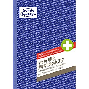 Avery Zweckform 312 First Aid Call Block A5 50 Original) 50 Sheets White