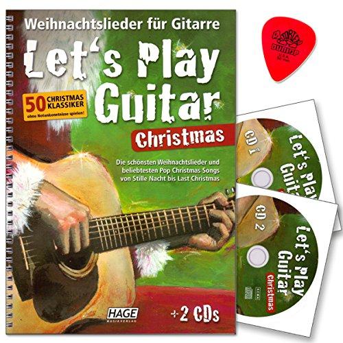 Let 's Play Guitar Christmas–Canciones de Navidad para guitarra con 2CDs y púa–50Christmas clásico sin ordenador conocimientos Jugar–HAGE Música Verlag eh37999783866262485