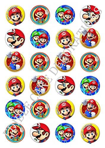 24x Super Mario Celebration Essbare Papier Cupcake Topper Kuchen Dekorationen Happy ()
