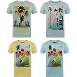 riverso RIVLukas Lot de 4 T-Shirt à Manches Courtes pour Homme Imprimé Animal S à 5XL