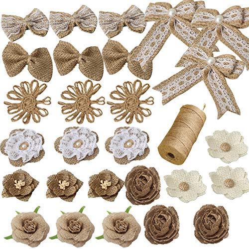 Jute-Blumenset, 27 Stück 9 Stile handgefertigt,rustikale Spitze,Rose und 1 Rolle Jute-Schnur für DIY Kunst Handwerk Valentinstag Geschenk Hochzeit Dekoration und Blumenhandwerk machen, langlebige a -